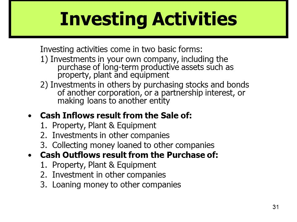 31 Investing Activities Investing activities come in two basic forms: 1) Investments in your own company, including the purchase of long-term producti