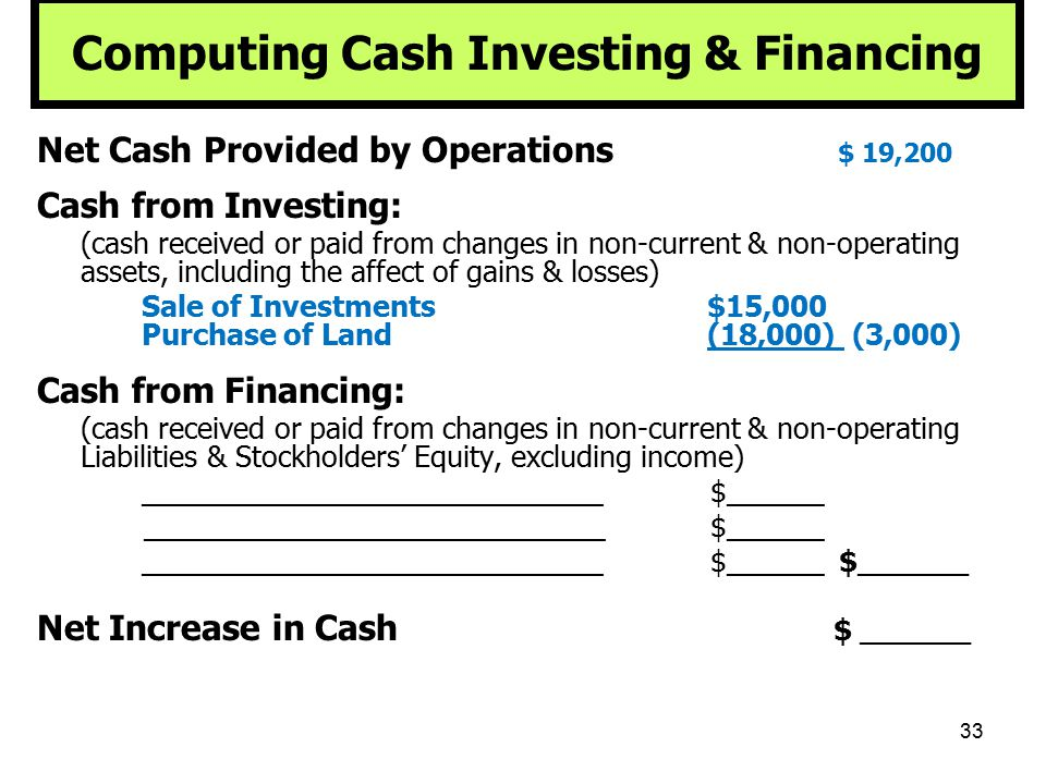 33 Computing Cash Investing & Financing Net Cash Provided by Operations $ 19,200 Cash from Investing: (cash received or paid from changes in non-curre
