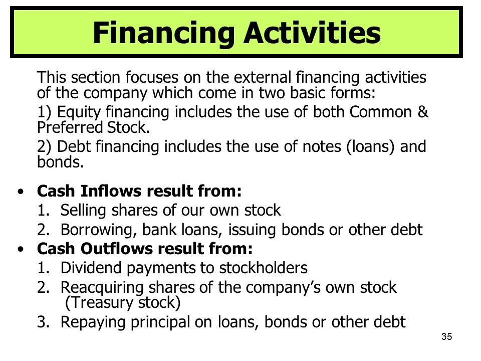 35 Financing Activities This section focuses on the external financing activities of the company which come in two basic forms: 1) Equity financing in