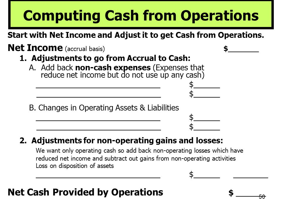 50 Computing Cash from Operations Start with Net Income and Adjust it to get Cash from Operations. Net Income (accrual basis) $_______ 1. Adjustments