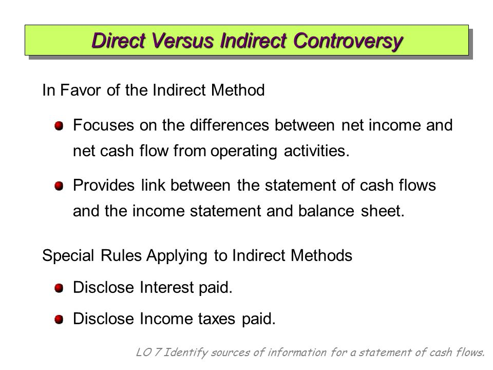 LO 7 Identify sources of information for a statement of cash flows. In Favor of the Indirect Method Focuses on the differences between net income and