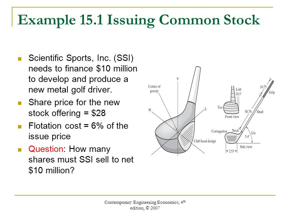 Contemporary Engineering Economics, 4 th edition, © 2007 Example 15.1 Issuing Common Stock Scientific Sports, Inc.