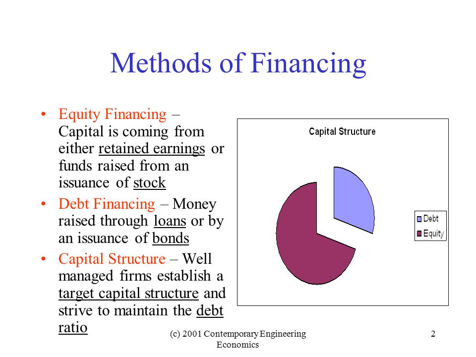 (c) 2001 Contemporary Engineering Economics 33 Under conditions of capital rationing, the selection of MARR is more difficult, but generally the following possibilities exist : ConditionsMARR A firm borrows some capital from lending institutions at the borrowing rate, k, and some from its investment pool at the lending rate, r.