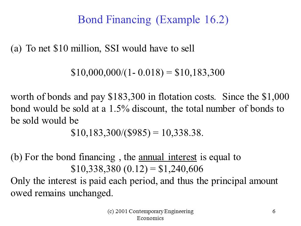 (c) 2001 Contemporary Engineering Economics 17 Choice of MARR when Project Financing is Known When you find the Net present worth of the project, use cost of equity (i e ) as the discount rate.