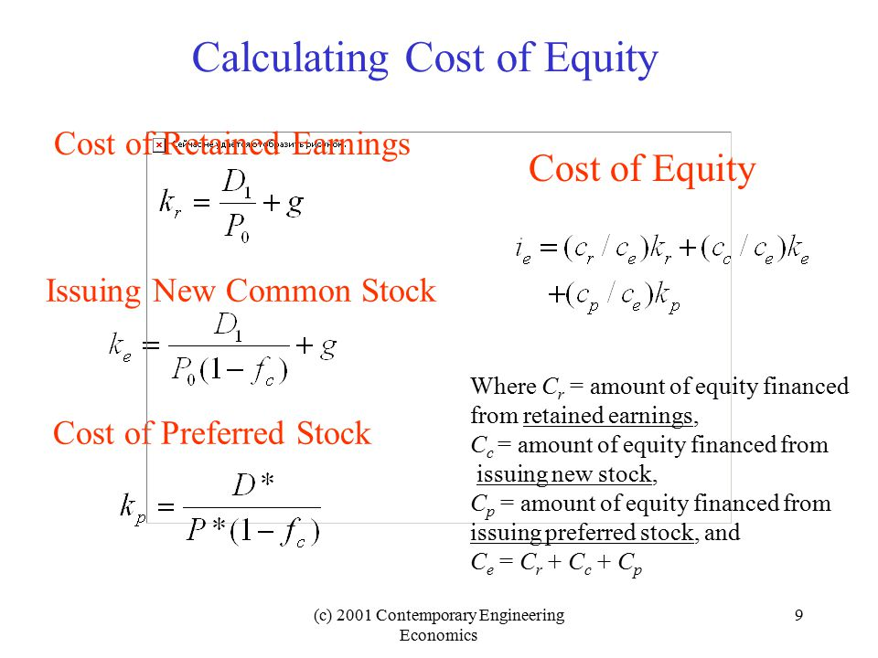 (c) 2001 Contemporary Engineering Economics 10 Example 16.4 Determining the Cost of Equity SourceAmountFraction of Total Equity Retained earnings $1 million0.167 New common stock 4 million0.666 Preferred stock1 million0.167