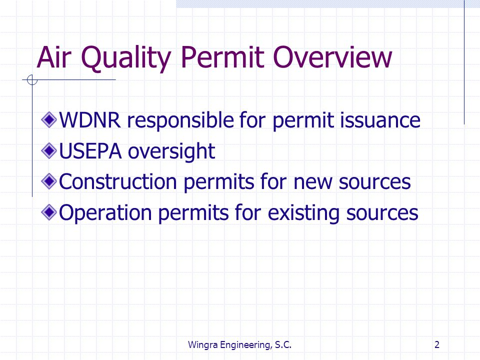 Wingra Engineering, S.C.2 Air Quality Permit Overview WDNR responsible for permit issuance USEPA oversight Construction permits for new sources Operat