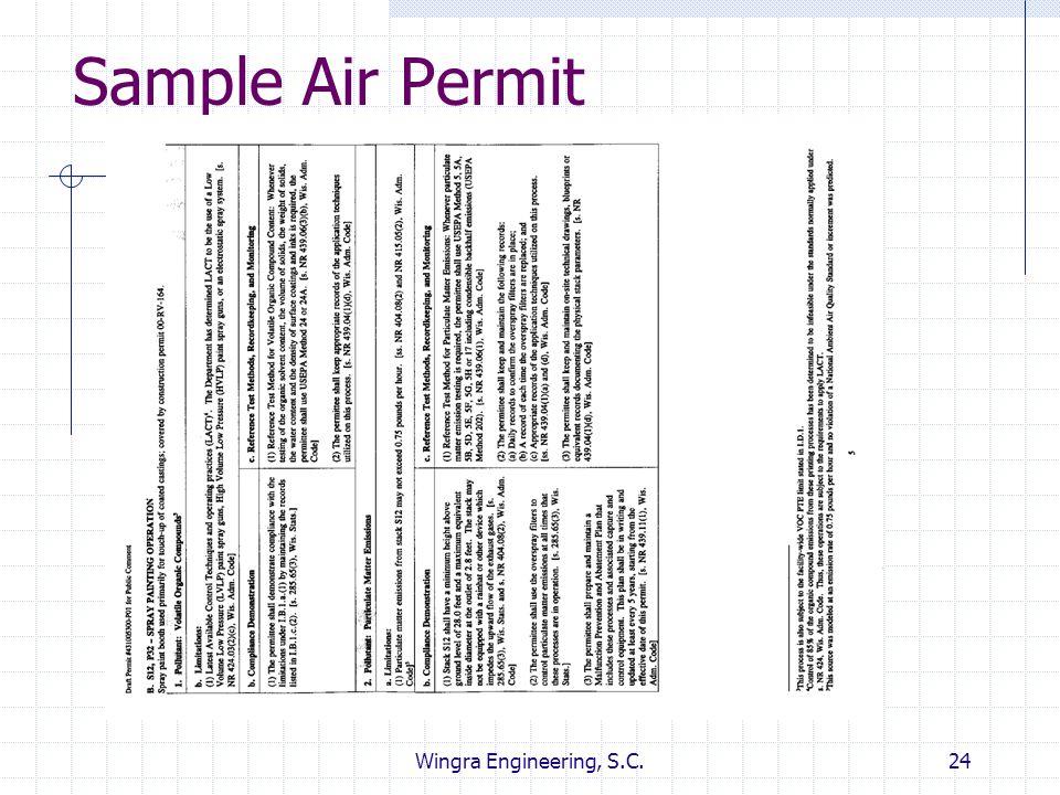 Wingra Engineering, S.C.24 Sample Air Permit