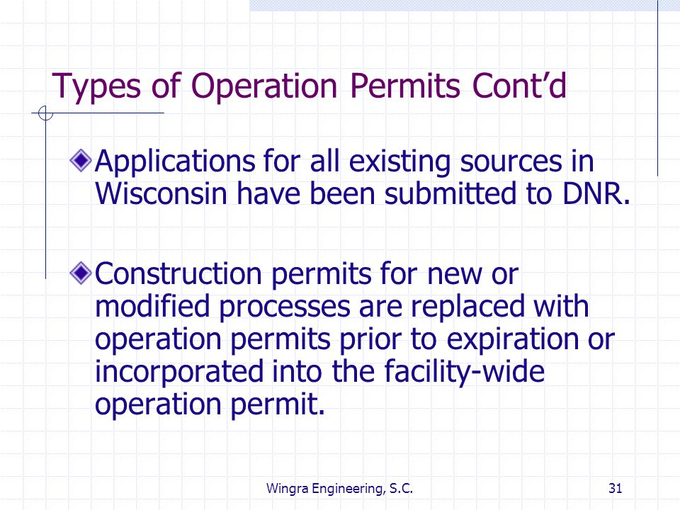 Wingra Engineering, S.C.31 Types of Operation Permits Cont'd Applications for all existing sources in Wisconsin have been submitted to DNR. Constructi