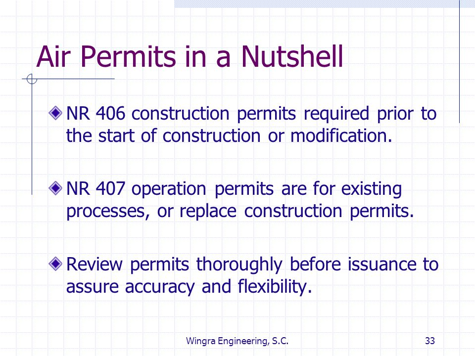 Wingra Engineering, S.C.33 Air Permits in a Nutshell NR 406 construction permits required prior to the start of construction or modification. NR 407 o