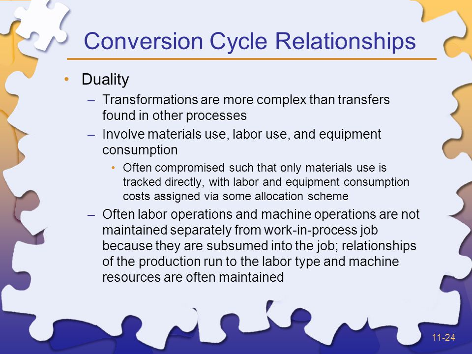 11-24 Conversion Cycle Relationships Duality –Transformations are more complex than transfers found in other processes –Involve materials use, labor use, and equipment consumption Often compromised such that only materials use is tracked directly, with labor and equipment consumption costs assigned via some allocation scheme –Often labor operations and machine operations are not maintained separately from work-in-process job because they are subsumed into the job; relationships of the production run to the labor type and machine resources are often maintained