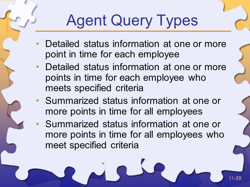 11-39 Agent Query Types Detailed status information at one or more point in time for each employee Detailed status information at one or more points in time for each employee who meets specified criteria Summarized status information at one or more points in time for all employees Summarized status information at one or more points in time for all employees who meet specified criteria