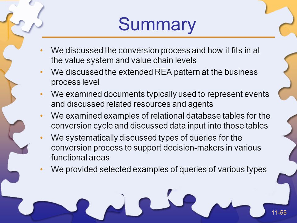 11-55 Summary We discussed the conversion process and how it fits in at the value system and value chain levels We discussed the extended REA pattern at the business process level We examined documents typically used to represent events and discussed related resources and agents We examined examples of relational database tables for the conversion cycle and discussed data input into those tables We systematically discussed types of queries for the conversion process to support decision-makers in various functional areas We provided selected examples of queries of various types