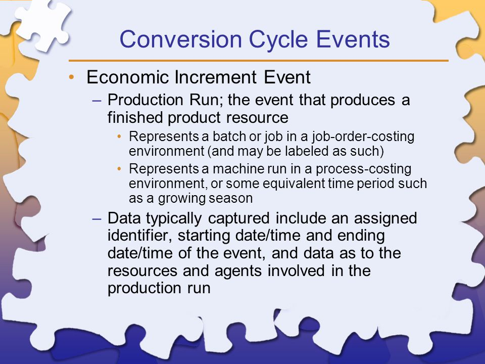 Conversion Cycle Events Economic Increment Event –Production Run; the event that produces a finished product resource Represents a batch or job in a job-order-costing environment (and may be labeled as such) Represents a machine run in a process-costing environment, or some equivalent time period such as a growing season –Data typically captured include an assigned identifier, starting date/time and ending date/time of the event, and data as to the resources and agents involved in the production run