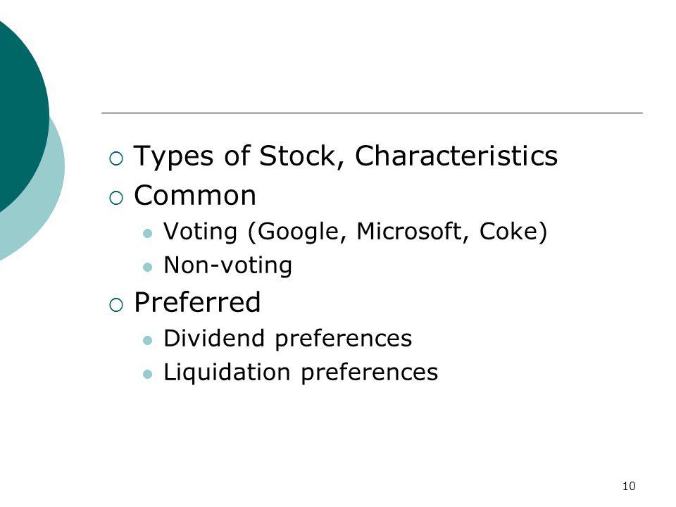 10  Types of Stock, Characteristics  Common Voting (Google, Microsoft, Coke) Non-voting  Preferred Dividend preferences Liquidation preferences