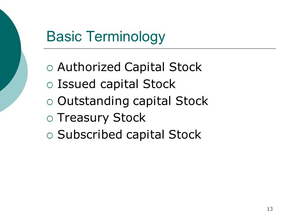 13 Basic Terminology  Authorized Capital Stock  Issued capital Stock  Outstanding capital Stock  Treasury Stock  Subscribed capital Stock