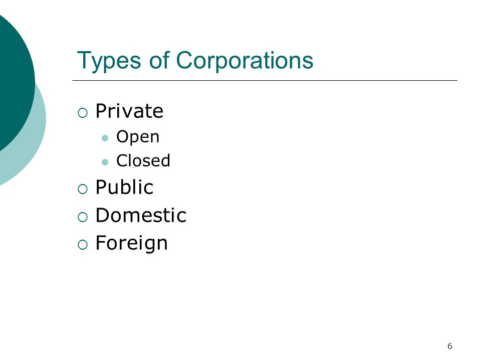 6 Types of Corporations  Private Open Closed  Public  Domestic  Foreign