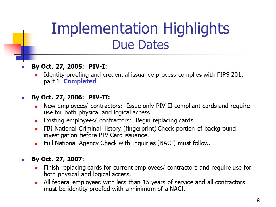 8 Implementation Highlights Due Dates By Oct.