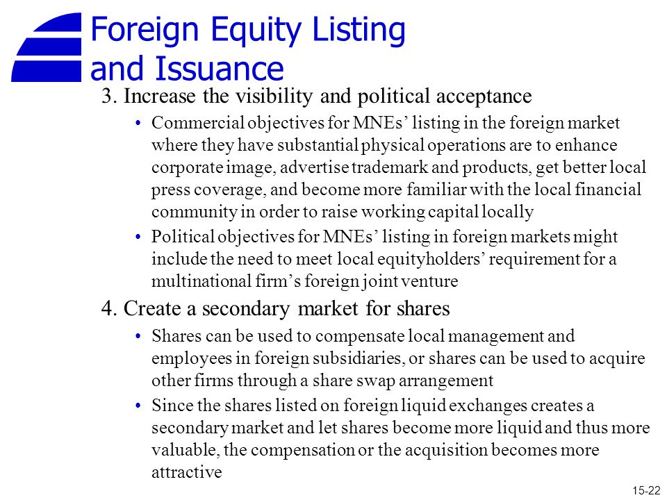 Foreign Equity Listing and Issuance 3.