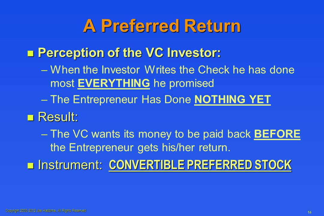 Copyright 2000-2012 Joe Hadzima, All Rights Reserved 14 A Preferred Return n Perception of the VC Investor: – –When the Investor Writes the Check he has done most EVERYTHING he promised – –The Entrepreneur Has Done NOTHING YET n Result: – –The VC wants its money to be paid back BEFORE the Entrepreneur gets his/her return.