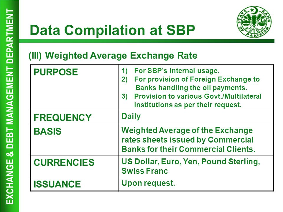 EXCHANGE & DEBT MANAGEMENT DEPARTMENT Data Compilation at SBP (III) Weighted Average Exchange Rate PURPOSE 1)For SBP's internal usage. 2)For provision
