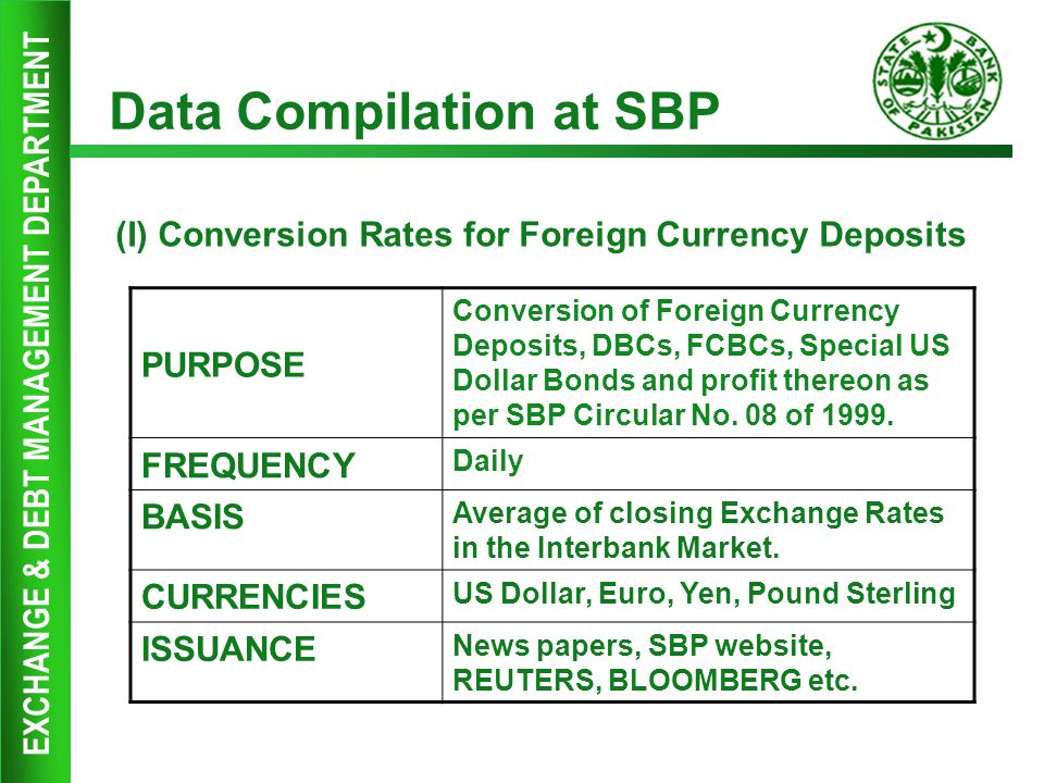 EXCHANGE & DEBT MANAGEMENT DEPARTMENT Data Compilation at SBP (I) Conversion Rates for Foreign Currency Deposits PURPOSE Conversion of Foreign Currenc