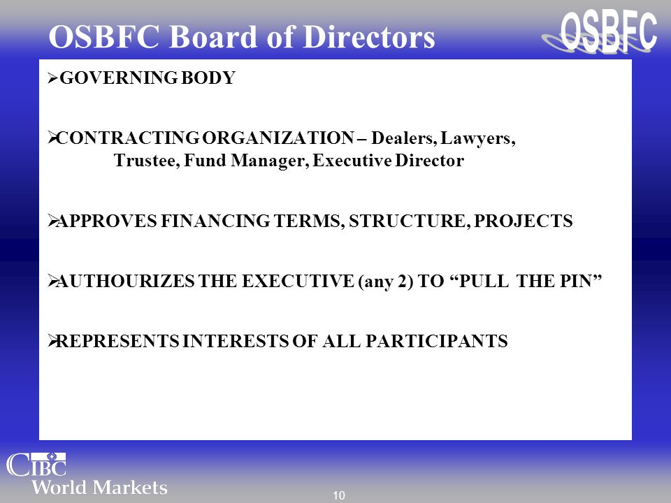 10 OSBFC Board of Directors  GOVERNING BODY  CONTRACTING ORGANIZATION – Dealers, Lawyers, Trustee, Fund Manager, Executive Director  APPROVES FINAN