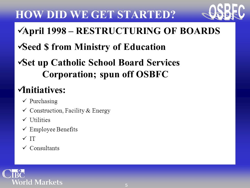 5 HOW DID WE GET STARTED? April 1998 – RESTRUCTURING OF BOARDS Seed $ from Ministry of Education Set up Catholic School Board Services Corporation; sp