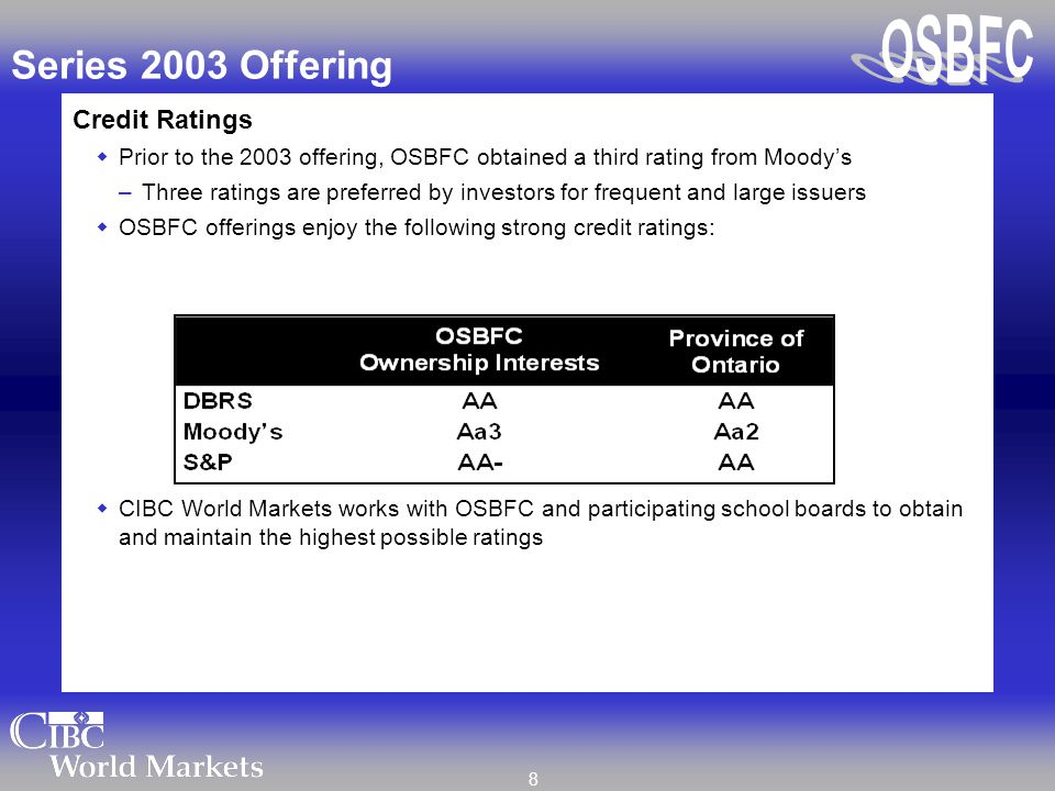 8 Series 2003 Offering Credit Ratings  Prior to the 2003 offering, OSBFC obtained a third rating from Moody's –Three ratings are preferred by investo