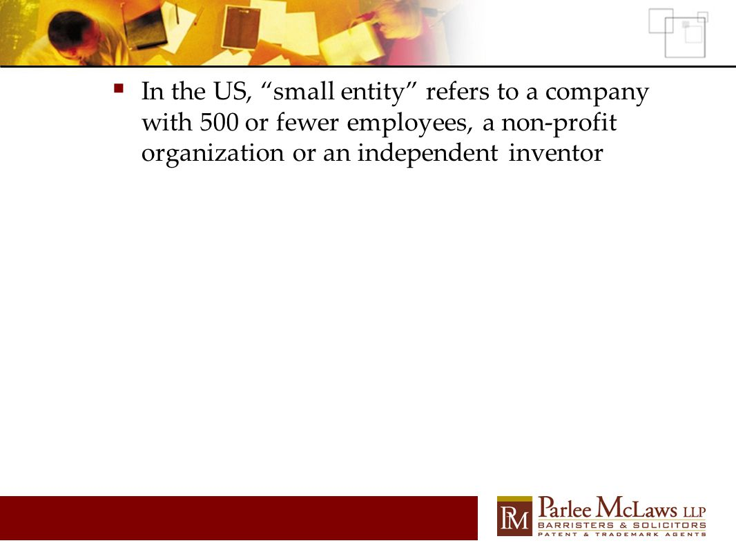 " In the US, ""small entity"" refers to a company with 500 or fewer employees, a non-profit organization or an independent inventor"