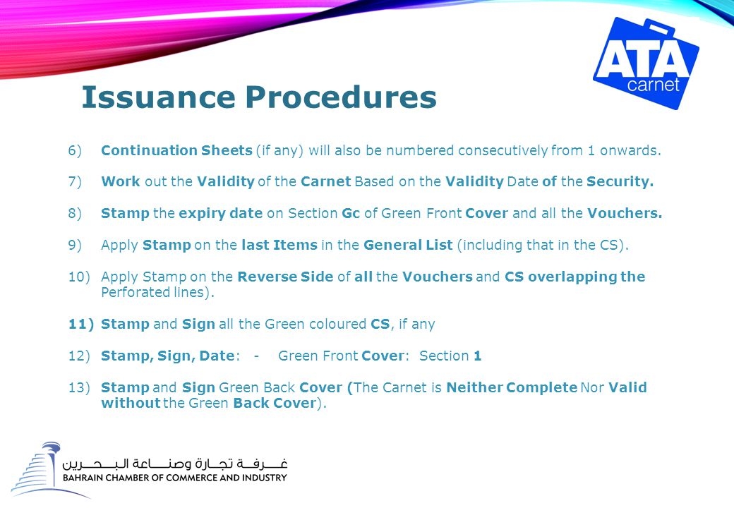 Issuance Procedures 6)Continuation Sheets (if any) will also be numbered consecutively from 1 onwards.