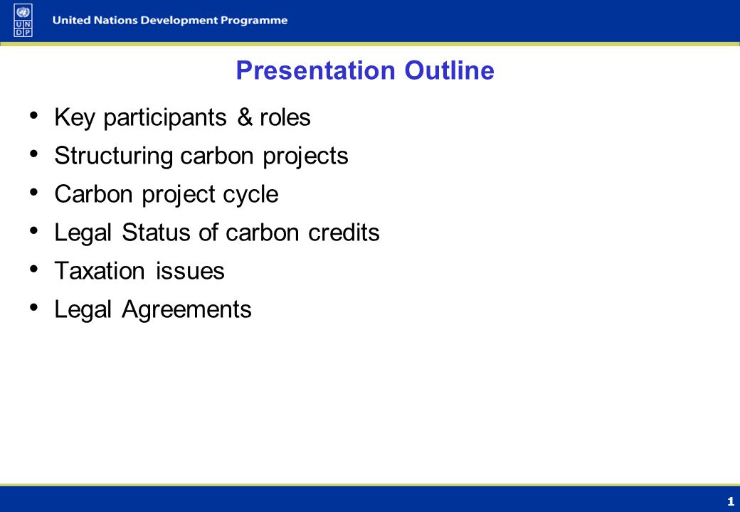1 Presentation Outline Key participants & roles Structuring carbon projects Carbon project cycle Legal Status of carbon credits Taxation issues Legal