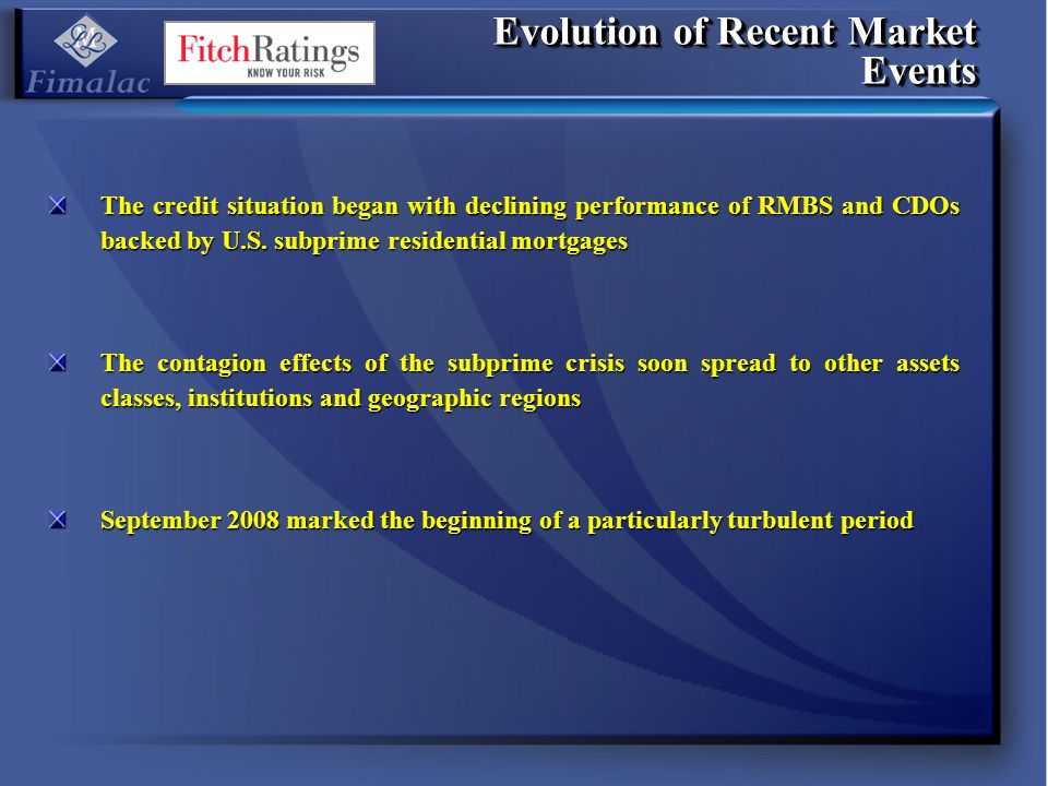 Evolution of Recent Market Events The credit situation began with declining performance of RMBS and CDOs backed by U.S. subprime residential mortgages