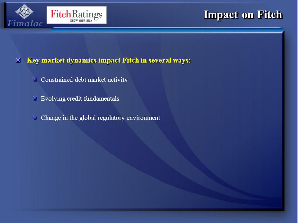 Impact on Fitch Key market dynamics impact Fitch in several ways: Constrained debt market activity Evolving credit fundamentals Change in the global r