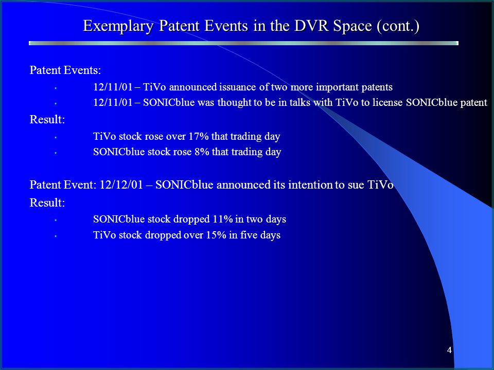 4 Exemplary Patent Events in the DVR Space (cont.) Patent Events: 12/11/01 – TiVo announced issuance of two more important patents 12/11/01 – SONICblue was thought to be in talks with TiVo to license SONICblue patent Result: TiVo stock rose over 17% that trading day SONICblue stock rose 8% that trading day Patent Event: 12/12/01 – SONICblue announced its intention to sue TiVo Result: SONICblue stock dropped 11% in two days TiVo stock dropped over 15% in five days