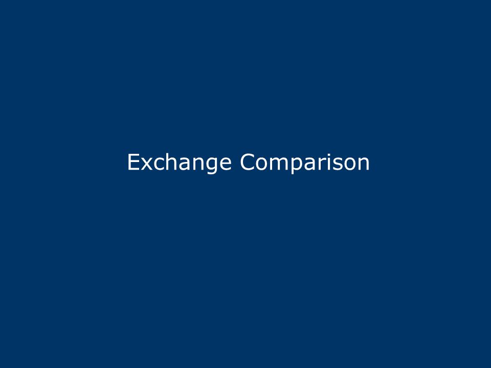 Exchange Comparison