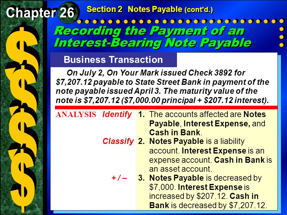Section 2Notes Payable (cont d.) Business Transaction On July 2, On Your Mark issued Check 3892 for $7,207.12 payable to State Street Bank in payment of the note payable issued April 3.