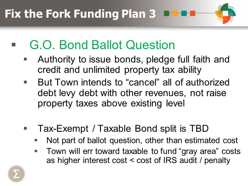 """ G.O. Bond Ballot Question  Authority to issue bonds, pledge full faith and credit and unlimited property tax ability  But Town intends to """"cancel"""""""