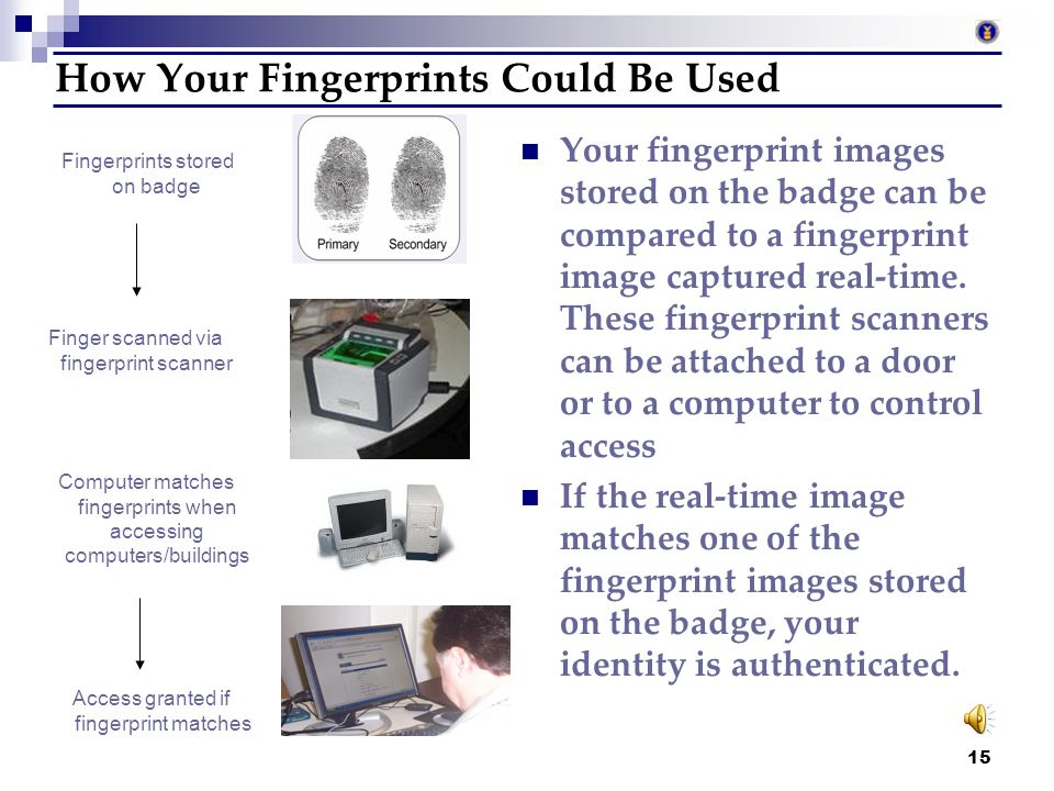14 Biometric Information Biometric information refers to measurable physical characteristics that can automatically be checked by a device or applicat