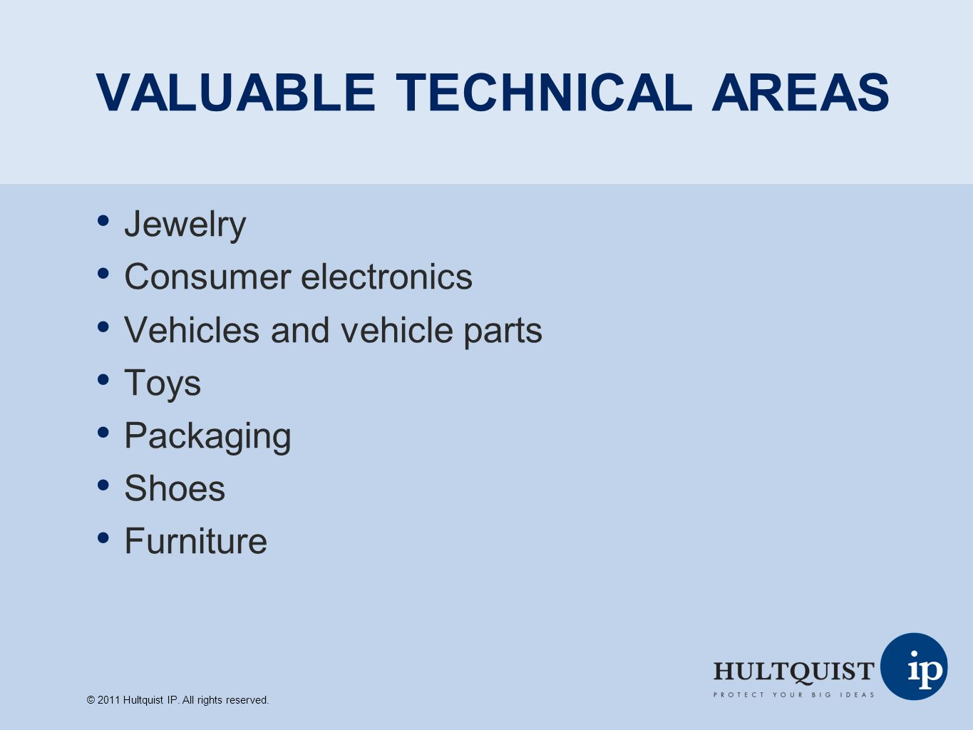 VALUABLE TECHNICAL AREAS Jewelry Consumer electronics Vehicles and vehicle parts Toys Packaging Shoes Furniture © 2011 Hultquist IP. All rights reserv