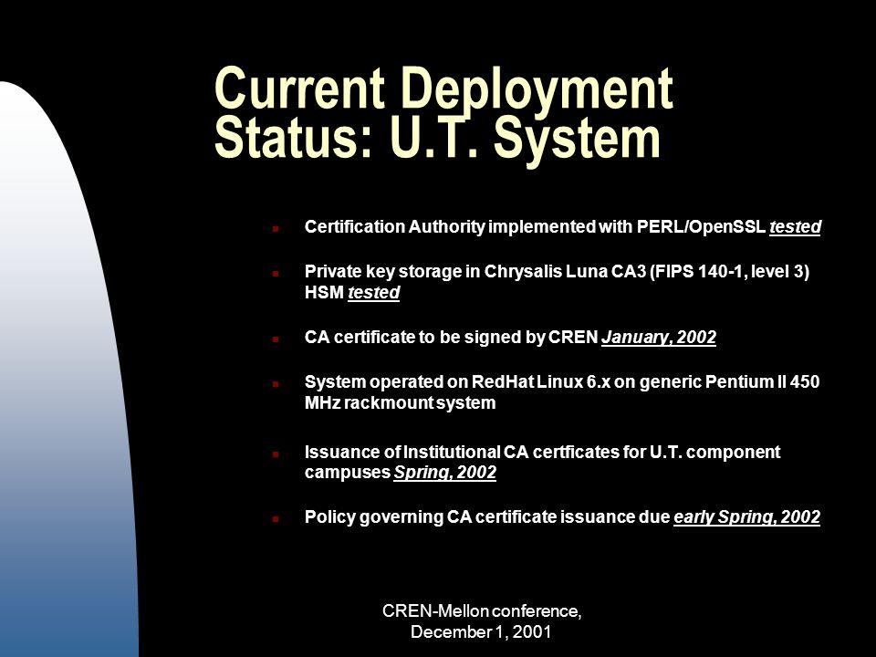 CREN-Mellon conference, December 1, 2001 Current Deployment Status: U.T.