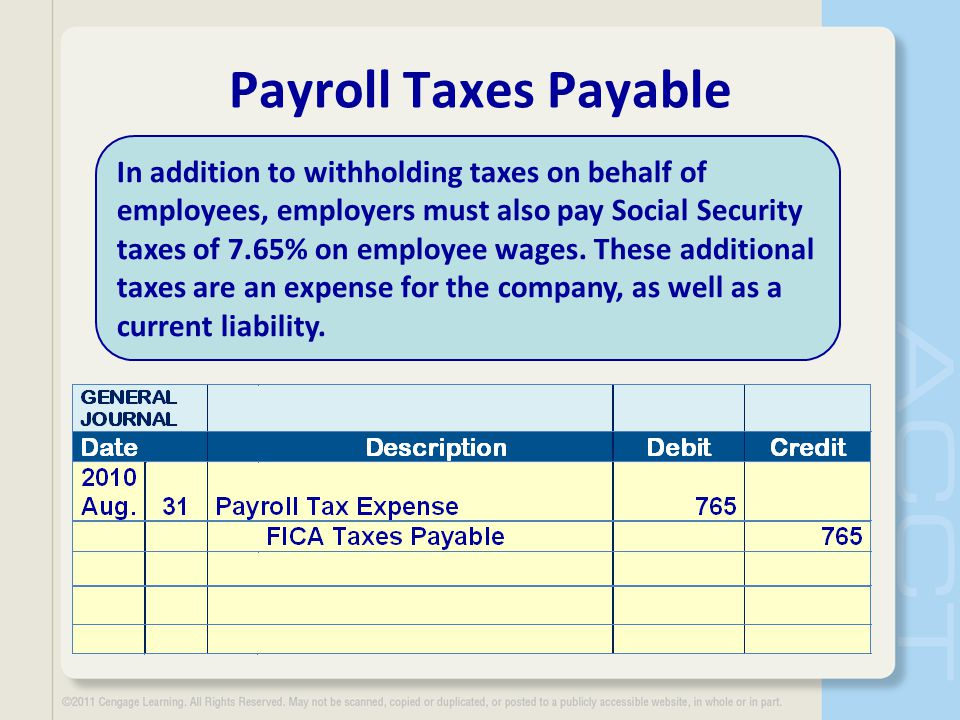 Payroll Taxes Payable In addition to withholding taxes on behalf of employees, employers must also pay Social Security taxes of 7.65% on employee wage