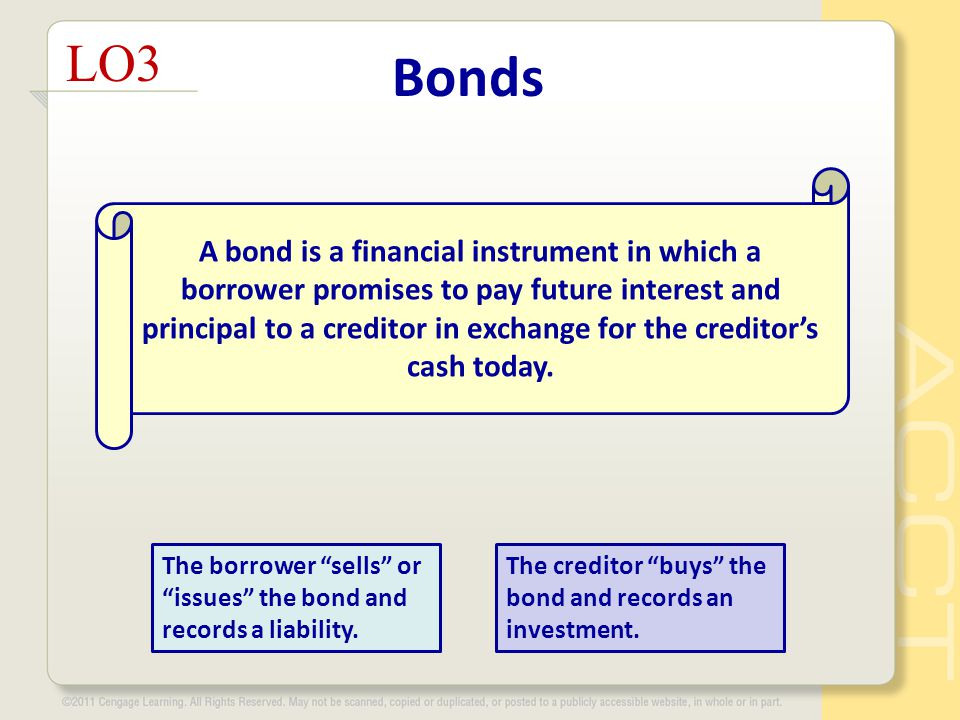 Bonds LO3 A bond is a financial instrument in which a borrower promises to pay future interest and principal to a creditor in exchange for the creditor's cash today.