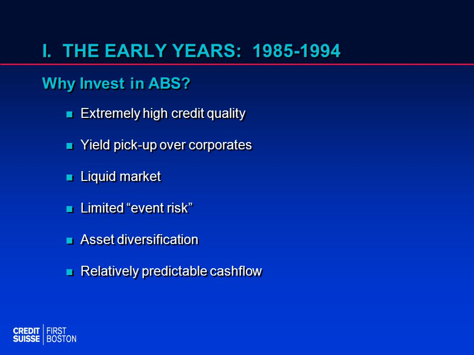 I. THE EARLY YEARS: 1985-1994 Why Invest in ABS.