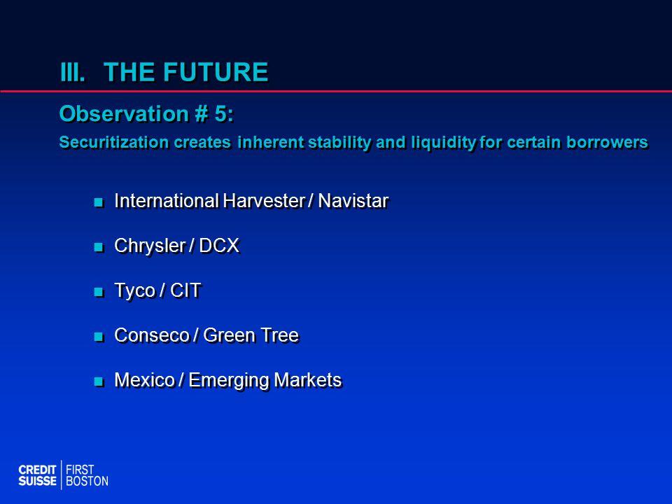 III. THE FUTURE International Harvester / Navistar Chrysler / DCX Tyco / CIT Conseco / Green Tree Mexico / Emerging Markets International Harvester /