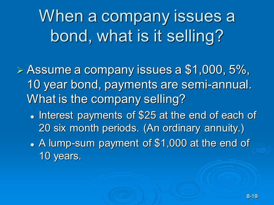 8-19 When a company issues a bond, what is it selling.