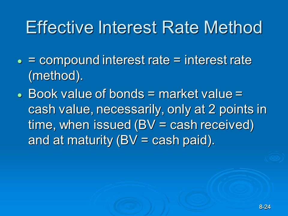 8-24 Effective Interest Rate Method  = compound interest rate = interest rate (method).