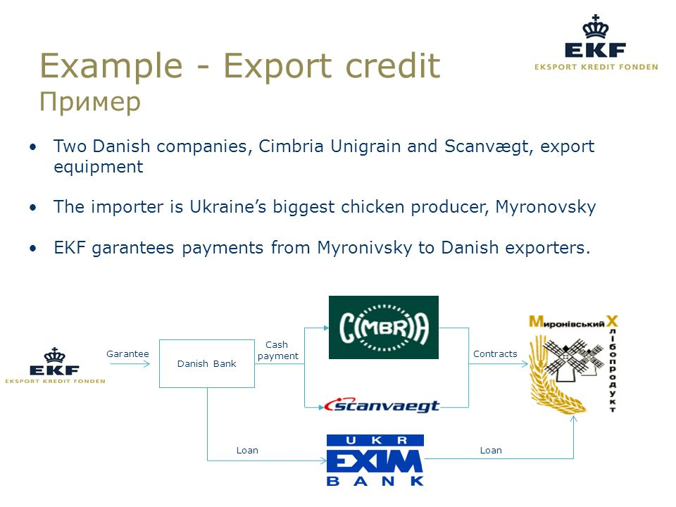 Loan Garantee Danish Bank Contracts Cash payment Loan Example - Export credit Пример Two Danish companies, Cimbria Unigrain and Scanvægt, export equipment The importer is Ukraine's biggest chicken producer, Myronovsky EKF garantees payments from Myronivsky to Danish exporters.