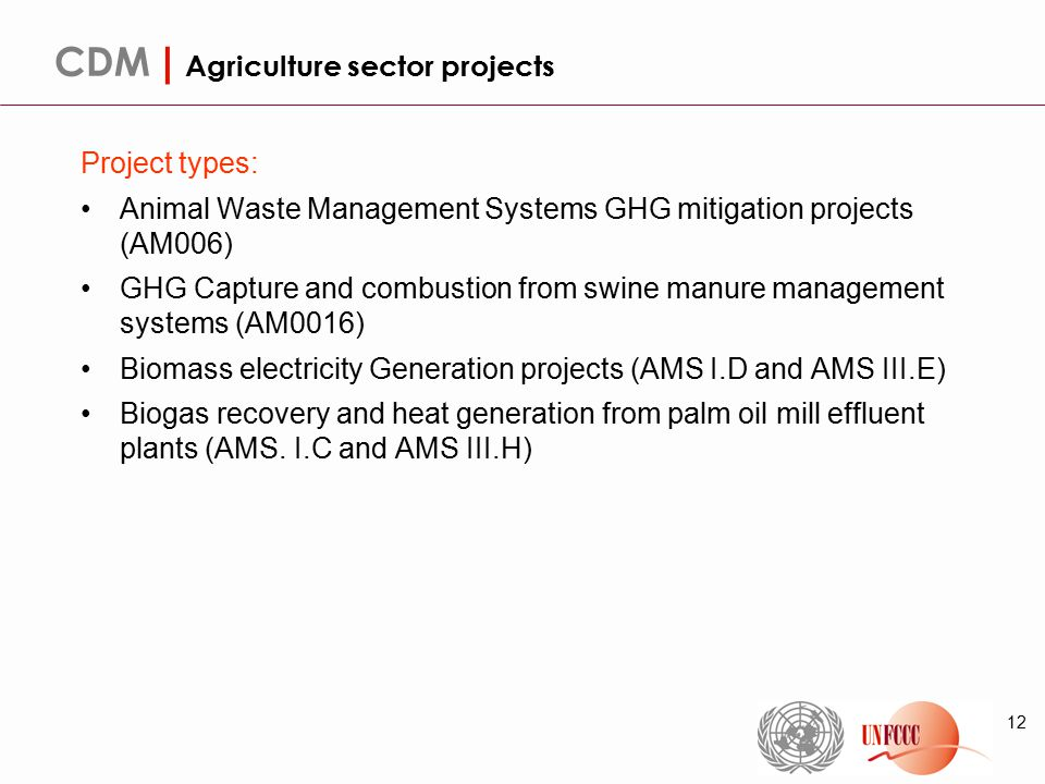 12 CDM | Agriculture sector projects Project types: Animal Waste Management Systems GHG mitigation projects (AM006) GHG Capture and combustion from swine manure management systems (AM0016) Biomass electricity Generation projects (AMS I.D and AMS III.E) Biogas recovery and heat generation from palm oil mill effluent plants (AMS.