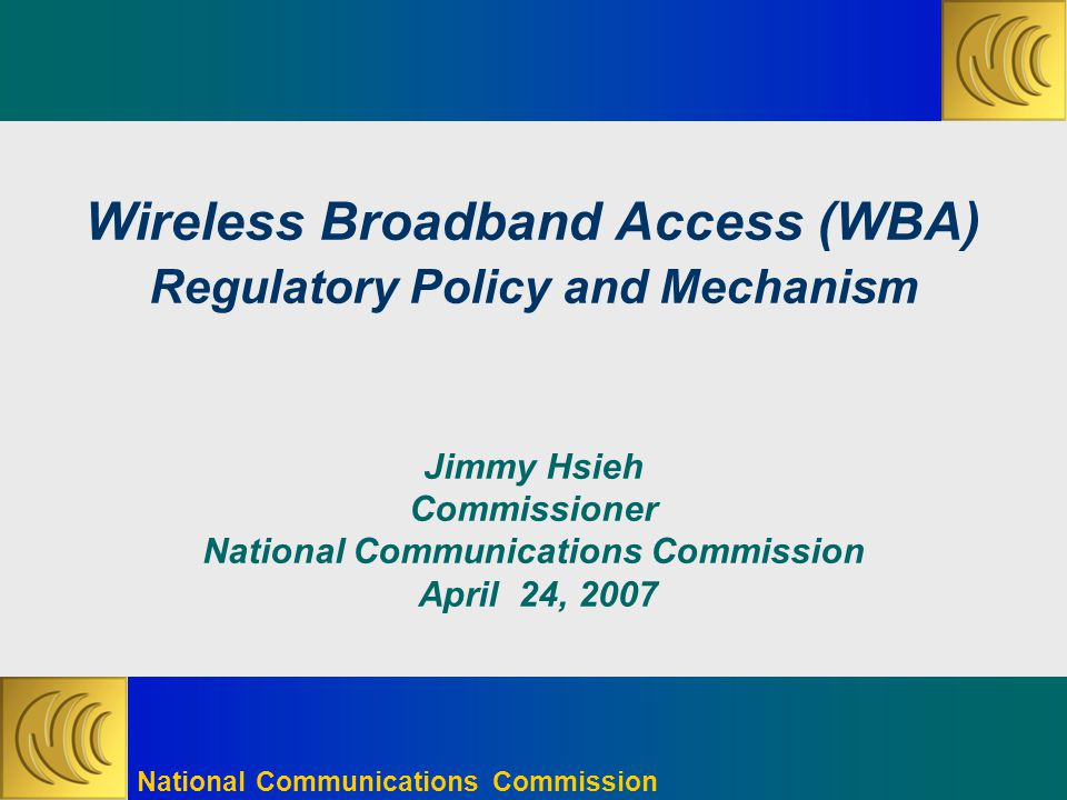 National Communications Commission 1 Spectrum Allocation  2.5GHz to 2.69GHz release for mobile BWA  Two-phase license issuance  Phase one release 90MHz  Phase two release 100MHz  2.5GHz to 2.69GHz was already at Mar.