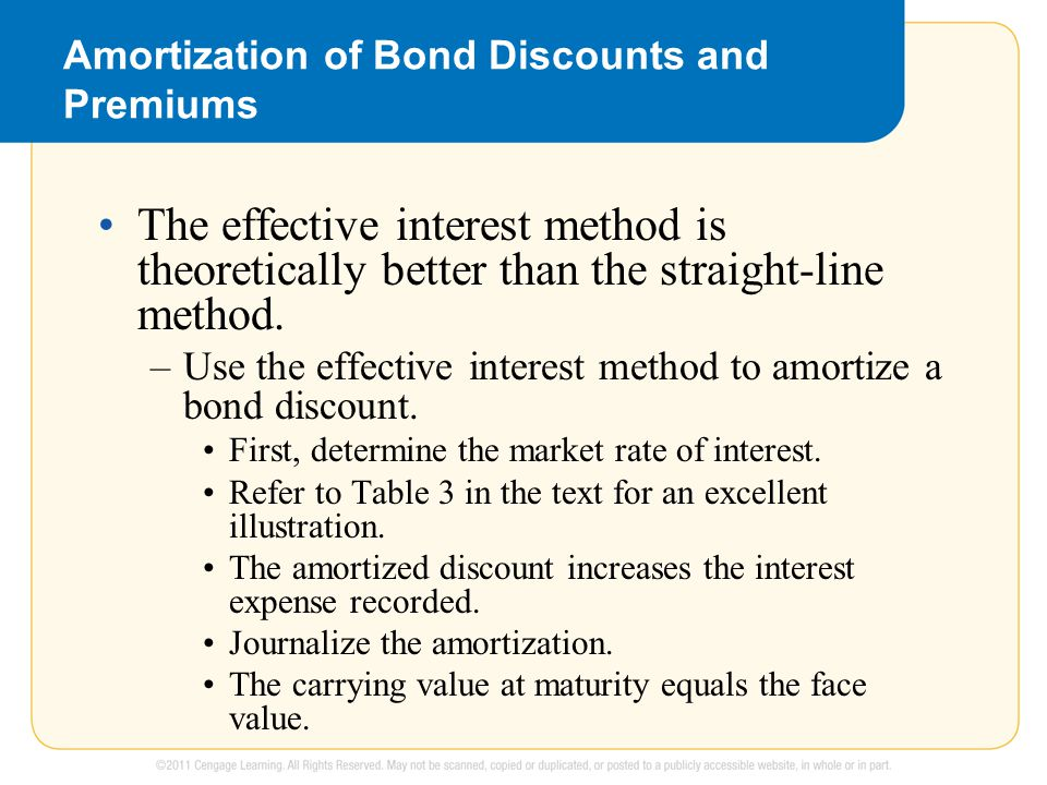 Amortization of Bond Discounts and Premiums The effective interest method is theoretically better than the straight-line method.